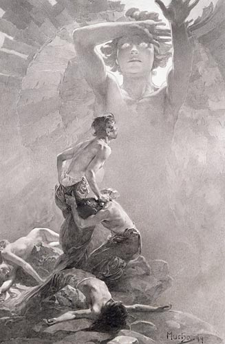 Final design for sixth allegorical panel, Alphonse Mucha art print on canvas